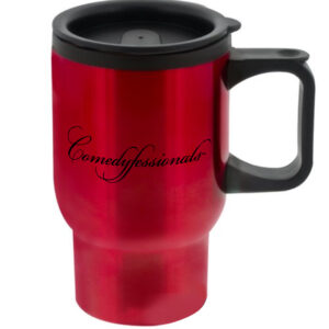Comedyfessionals Collection Travel Mug In Red With Our Signature Logo