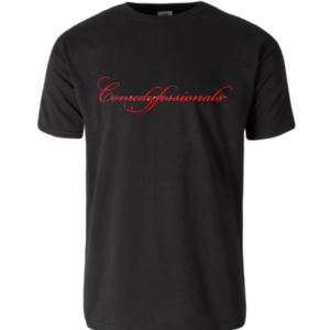 Comedyfessionals Logo Branded Tee Shirt Black Short Sleeve